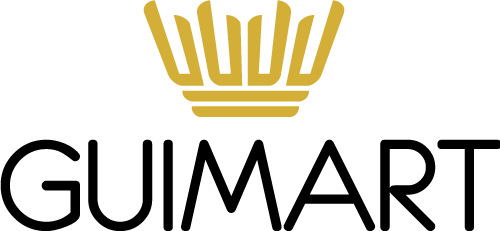 Logo GUIMART, coroa dourada e GUIMART escrito em preto